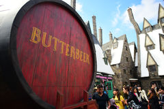 Foto del barilotto della quercia che contiene Butterbeer fotografia stock