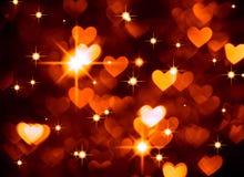 Foto del boke del fondo del cuore, colore marrone rosso scuro Festa, celebrazione e contesto astratti del biglietto di S. Valenti immagine stock