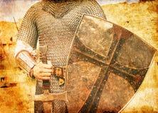 Foto del caballero y de la espada. Foto de archivo