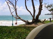 Foto del campeggio della tenda della spiaggia alla baia di Malaekahana su Oahu Immagine Stock Libera da Diritti