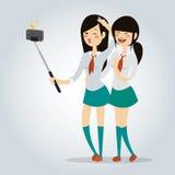 Foto del carácter del ejemplo del vector de la colegiala de Selfie Foto de archivo libre de regalías
