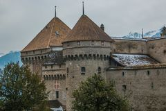 Foto del castello di Chillon, Svizzera Montreaux, lago Geneve, uno del castello visitato in svizzero Fotografia Stock Libera da Diritti
