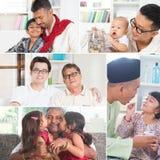 Foto del collage dei padri e dei bambini Fotografia Stock Libera da Diritti