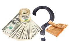 Foto del concepto de la crisis de la economía con pan Fotos de archivo libres de regalías
