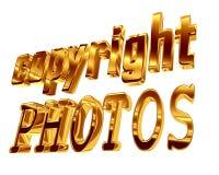 Foto del copyright del testo dell'oro su un fondo bianco Fotografia Stock Libera da Diritti