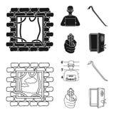 Foto del criminal, pedazo, caja fuerte abierta, arma direccional Iconos determinados de la colección del crimen en el negro, símb ilustración del vector