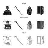 Foto del criminal, pedazo, caja fuerte abierta, arma direccional Iconos determinados de la colección del crimen en negro, monocro stock de ilustración