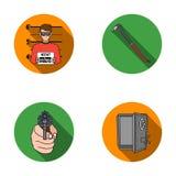 Foto del criminal, pedazo, caja fuerte abierta, arma direccional Los iconos determinados de la colección del crimen en estilo pla ilustración del vector