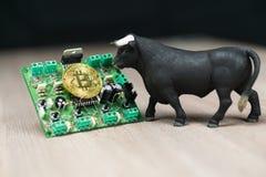 Foto del efectivo de Bitcoin o de Bitcoin en el circuito electrónico, la pieza del ordenador y el toro al lado de él imagen de archivo