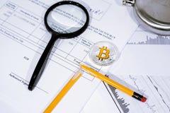 Foto del extracto de Bitcoin Comercio de divisas Crypto Imagen de archivo libre de regalías