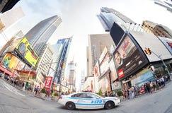 Foto del fish-eye di una pattuglia della polizia di NYPD Fotografia Stock Libera da Diritti