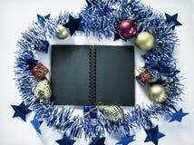 Foto del fondo de la endecha del plano de la decoración de la Navidad Contexto de la Navidad del vintage Fotos de archivo