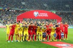 Foto del grupo de los equipos de fútbol de Ucrania-Macedonia Fotografía de archivo libre de regalías