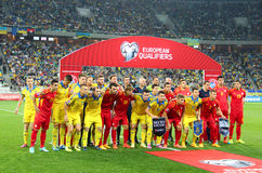 Foto del gruppo delle squadre di football americano della Ucraina-Macedonia Fotografia Stock Libera da Diritti