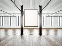 Foto del interior vacío en el edificio moderno Desván del espacio abierto Vacie la ejecución blanca de la lona en el marco de mad stock de ilustración