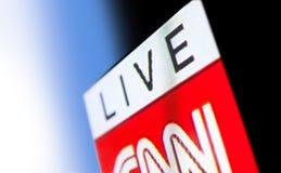 Foto del logo di CNN su uno schermo di monitor della TV Immagini Stock Libere da Diritti