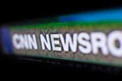 Foto del logotipo de CNN en una pantalla de monitor de la TV Fotografía de archivo