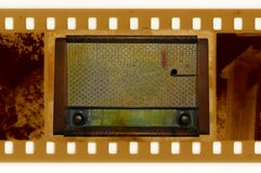 Foto del marco de los Oldies con la radio de la vendimia fotografía de archivo