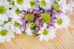 Foto del mazzo del primo piano dei fiori sui precedenti di legno immagini stock libere da diritti