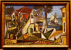Foto del ` Mediterraneo del paesaggio del ` originale della pittura da Pablo Picasso fotografia stock libera da diritti