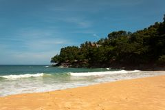 Foto del paesaggio della spiaggia tranquilla dell'isola Fotografia Stock