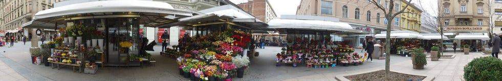 Foto del panorama del cuadrado de la flor en Zagreb, Croacia Fotografía de archivo libre de regalías