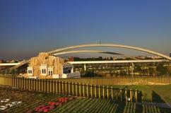 Foto del panorama de HDR de la opinión desde arriba del pabellón ruso grande en la EXPO 2015 de Milán Foto de archivo