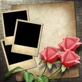 foto del Polaroid-estilo en un fondo de lino Imagenes de archivo