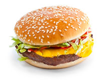 Foto del primer de la hamburguesa Imagen de archivo libre de regalías