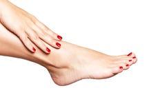 Foto del primer de pies femeninos con pedicura roja hermosa Fotos de archivo libres de regalías