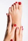 Foto del primer de pies femeninos con pedicura roja hermosa foto de archivo libre de regalías