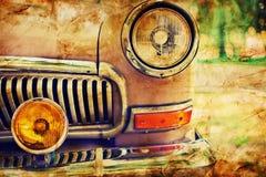 Foto del primer del coche retro Fotografía de archivo