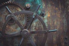Foto del primer del mecanismo de engranajes antiguo, fondo de Steampunk Foto de archivo