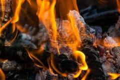 Foto del primo piano bruciante del carbone e della legna da ardere fotografia stock