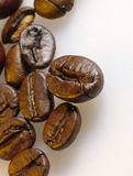 Foto del primo piano dei chicchi di caffè. Immagine Stock
