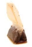 Foto del primo piano della bustina di tè bagnata utilizzata Fotografia Stock