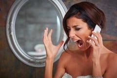 Foto del primo piano della sposa gridante Fotografia Stock
