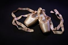 Foto del primo piano delle pantofole rosa di balletto Immagine Stock Libera da Diritti