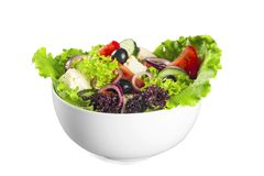 Foto del primo piano di insalata fresca con le verdure dentro Fotografia Stock Libera da Diritti