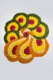 Foto del rangoli de la flor para el diwali o pongal común o el onam Imagen de archivo libre de regalías
