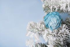 Foto del `s del Año Nuevo el árbol del ` s del Año Nuevo con la imitación de la nieve se adorna con el toyson un fondo azul Fotos de archivo