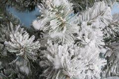 Foto del `s del Año Nuevo el árbol del ` s del Año Nuevo con la imitación de la nieve se adorna con los juguetes Los regalos mien Fotografía de archivo libre de regalías