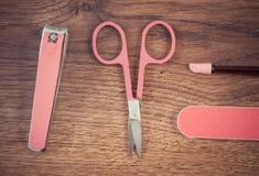 Foto del vintage, accesorios para la manicura o pedicura, concepto de cuidado del clavo Imágenes de archivo libres de regalías