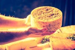 Foto del vintage de la vida inmóvil con queso de cabra francés Foto de archivo