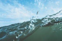 Foto del vintage de un salto de la persona que practica surf Imagen de archivo libre de regalías