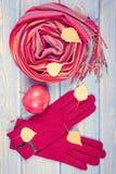 Foto del vintage, decoración otoñal, guantes y mantón de lana para la mujer, ropa para el otoño o invierno Foto de archivo