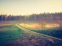 Foto del vintage del paisaje con el camino Imagenes de archivo