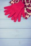 Foto del vintage, guantes y mantón de lana para la mujer en tableros, ropa para el otoño o invierno Imagen de archivo libre de regalías