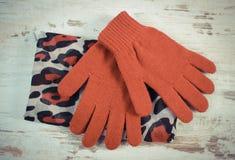 Foto del vintage, pares de guantes de lana y mantón para la mujer en viejo fondo de madera Fotos de archivo libres de regalías