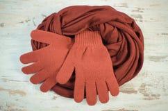 Foto del vintage, pares de guantes de lana y mantón para la mujer Foto de archivo